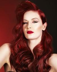 Long, dark red hair