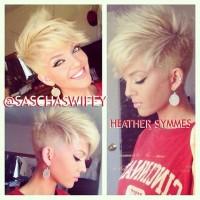 Short, choppy, pixie, blonde hairstyle