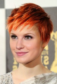 Short, choppy, pixie, red hair