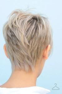 Short, layered, choppy, blonde haicut
