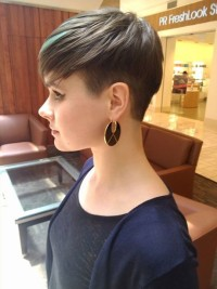 Short, choppy, pixie, black hairstyle with blonde highlights