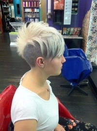 Short, pixie, hairstyle with mohawk and black sides
