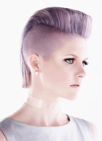 Short, violet hairstyle with shaved sides and mohawk
