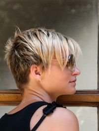 Short, wispy, layered, blonde hair with bangs