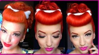 Pin up hairdo for red hair