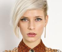Short, blonde hair with side-swept fringe