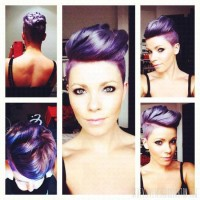 Short, violet hairdo with mohawk