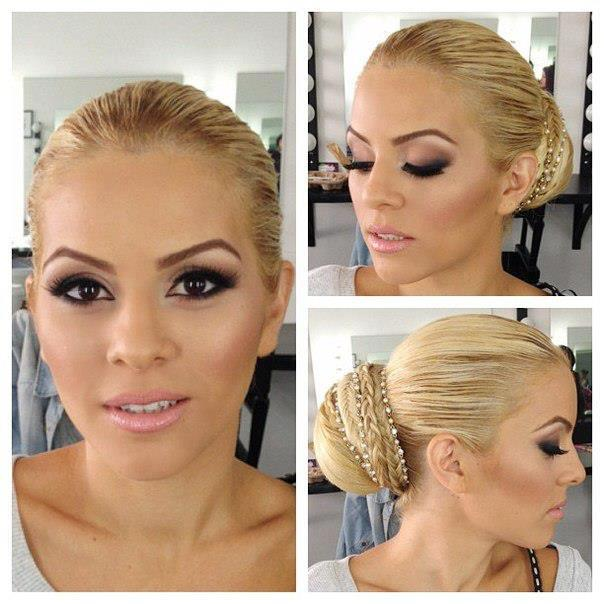 Blonde updo with bob and small braids