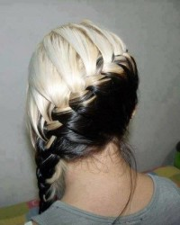 Long, two-toned, braided updo