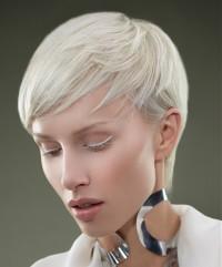 Short, layered, light blonde hairdo