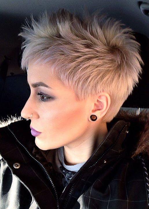 Short, pixie haircut for light pink hair