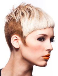 Short, pixie, two-toned haircut with razored cut fringe