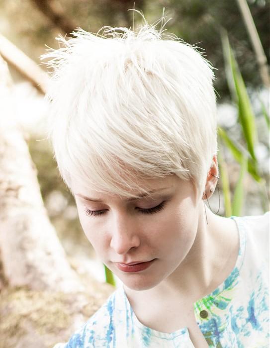 Short, pixie, light blonde haircut