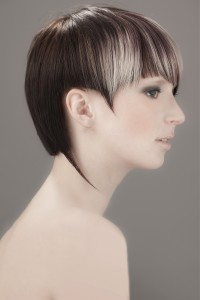 Short, assymetrical haircut for dark brown hair