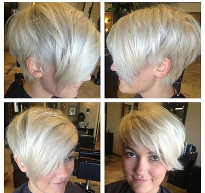 Short, bob style haircut for blonde girls