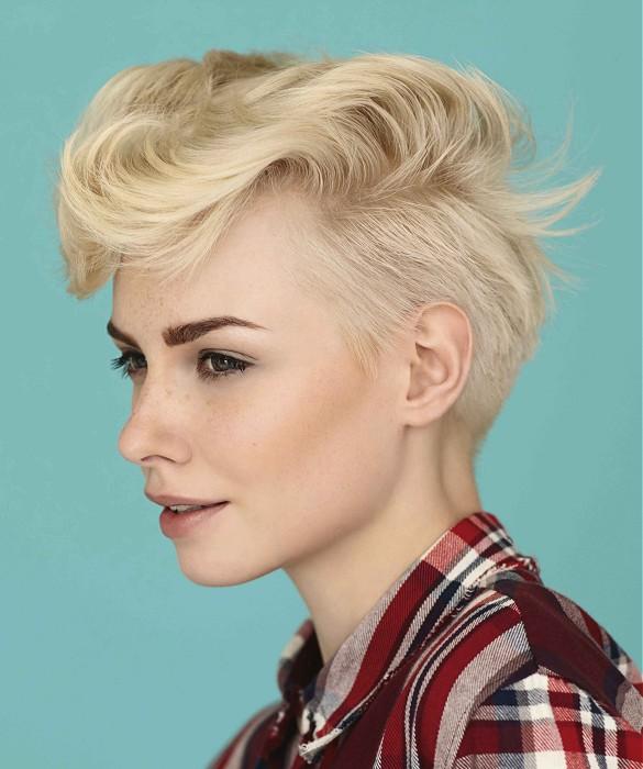 Short, pixie, blonde hairstyle with wavy fringe